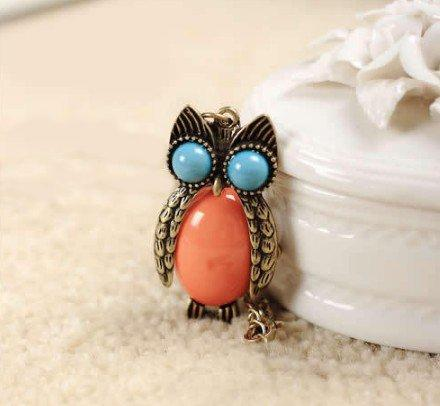 US Ancient Gold-Plated Resin Orange and Blue Owl Fashion German Silver Pendant . Size:24X40mm