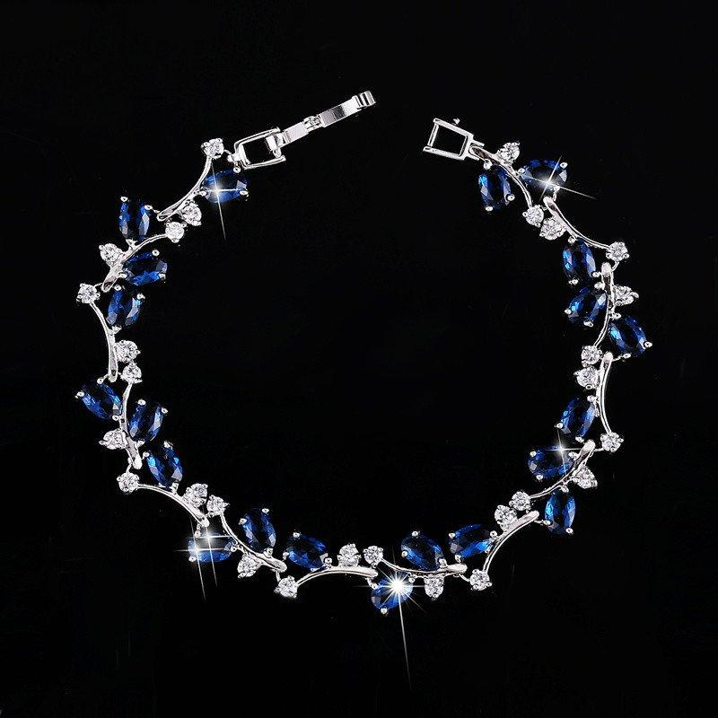 CN 14KT High Quality White Gold-Plated Blue Zicron Ladies German Silver bracelet 7 inches