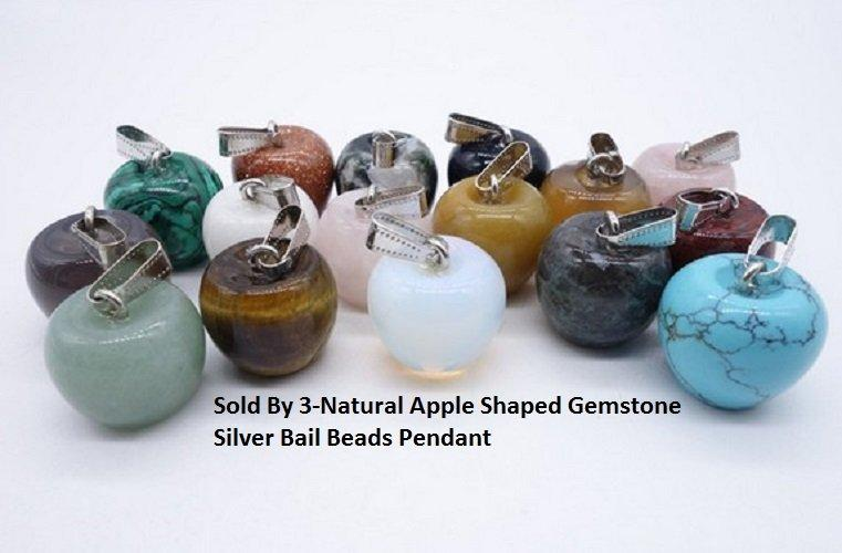 US/HK Sold By 3-Natural Apple Shaped Gemstone Silver Bail Beads German Silver Pendant