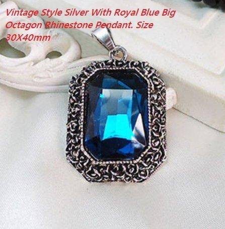 Vintage Style Silver With Royal Blue Big Octagon Rhinestone German Silver Pendant. Size 30X40mm