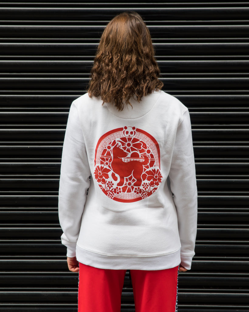 "Urban Panda ""Year of the Dog"" Crew neck sweatshirt - White & Red"
