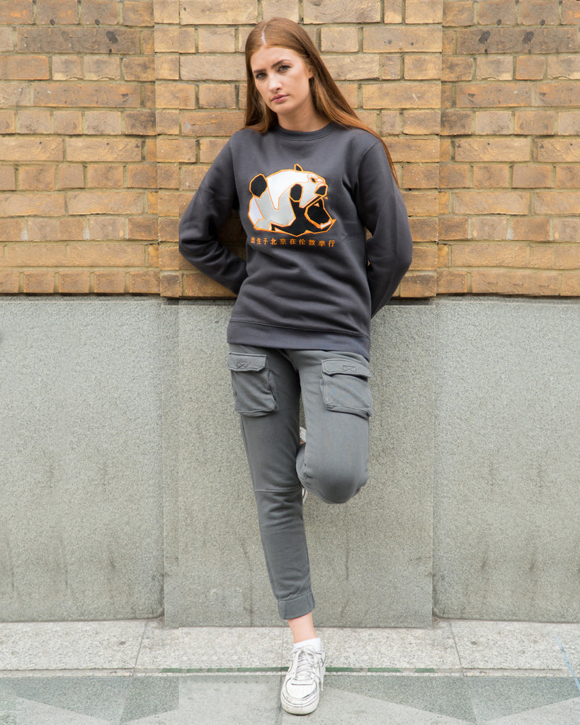 "Urban Panda ""Jiangxi Panda"" Embroidered sweatshirt - Charcoal Grey"