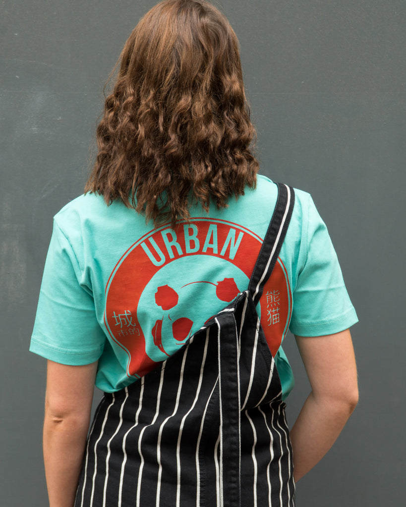 Urban Panda Signature T shirt - Teal + Red