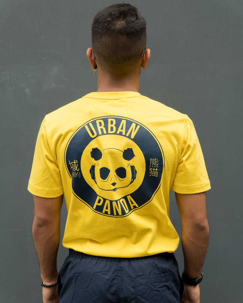 Urban Panda Signature T shirt - Yellow + Steel Blue