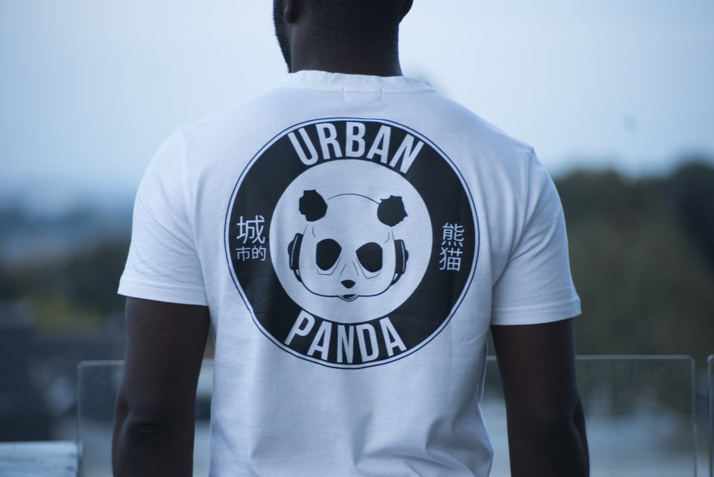 "Urban Panda: OG Collection  ""UP IN FLAMES"" T shirt - White"