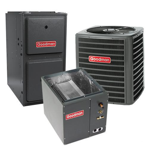 Goodman 2.5 Ton 14 SEER 80% AFUE 80,000 BTU Gas Furnace and Air Conditioner System - Downflow