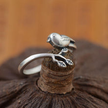 Load image into Gallery viewer, 100% Real Sterling Silver Vintage Handmade Adjustable Bird Ring - myanimal-jewelry.com