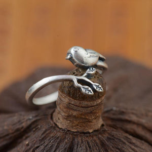 100% Real Sterling Silver Vintage Handmade Adjustable Bird Ring - myanimal-jewelry.com