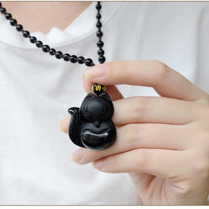Black Obsidian Hand-Carved Lucky Fox Necklace - myanimal-jewelry.com