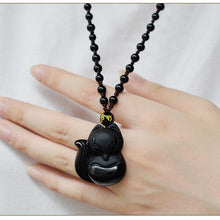 Load image into Gallery viewer, Black Obsidian Hand-Carved Lucky Fox Necklace - myanimal-jewelry.com