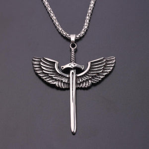 Fashion Vintage Sword With Eagle Wings Pendant Necklace - myanimal-jewelry.com