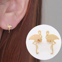 Load image into Gallery viewer, Flamingo Brass Stud Earrings - myanimal-jewelry.com