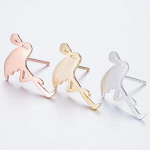 Flamingo Brass Stud Earrings - myanimal-jewelry.com