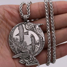 Load image into Gallery viewer, Viking Raven Pendant Necklace Odin Rune Amulet - myanimal-jewelry.com
