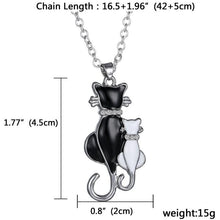 Load image into Gallery viewer, White & black cat couple necklace - myanimal-jewelry.com