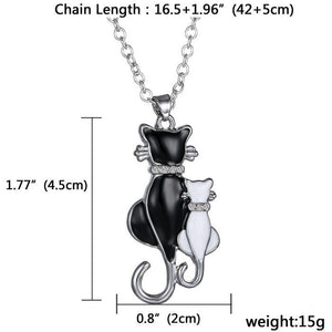 White & black cat couple necklace - myanimal-jewelry.com