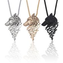Load image into Gallery viewer, Wolf Head Necklace Black Metal - myanimal-jewelry.com