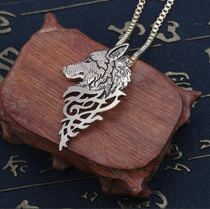 Wolf Head Necklace Black Metal - myanimal-jewelry.com