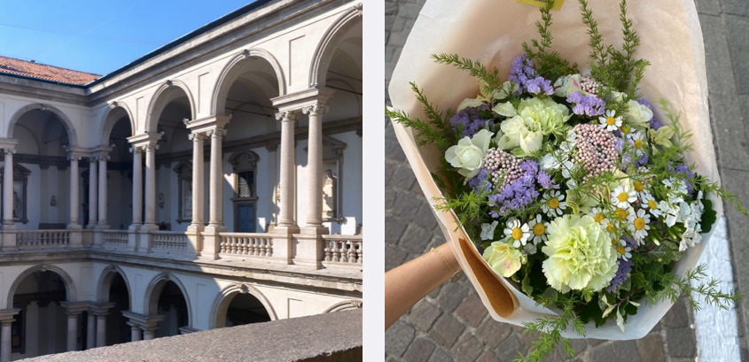 flowers and architecture