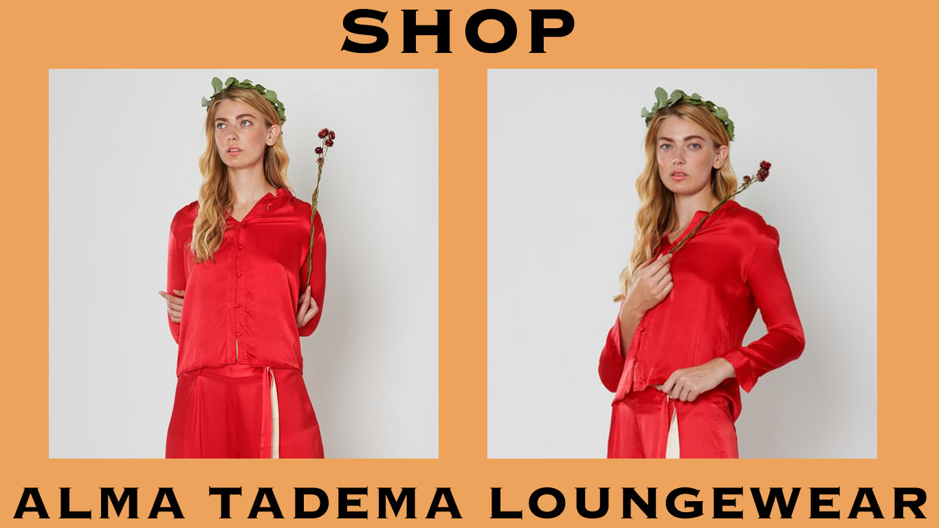 product graphic of alma tadema red loungewear. shop