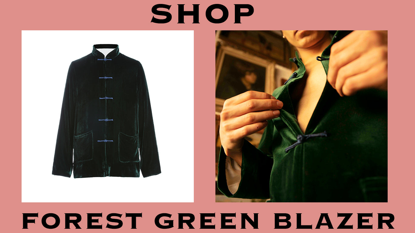 product graphic for forest green blazer. shop.