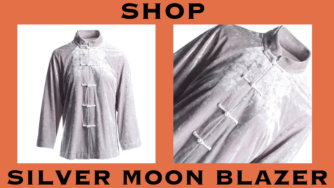 product graphic of silver moon blazer. shop.