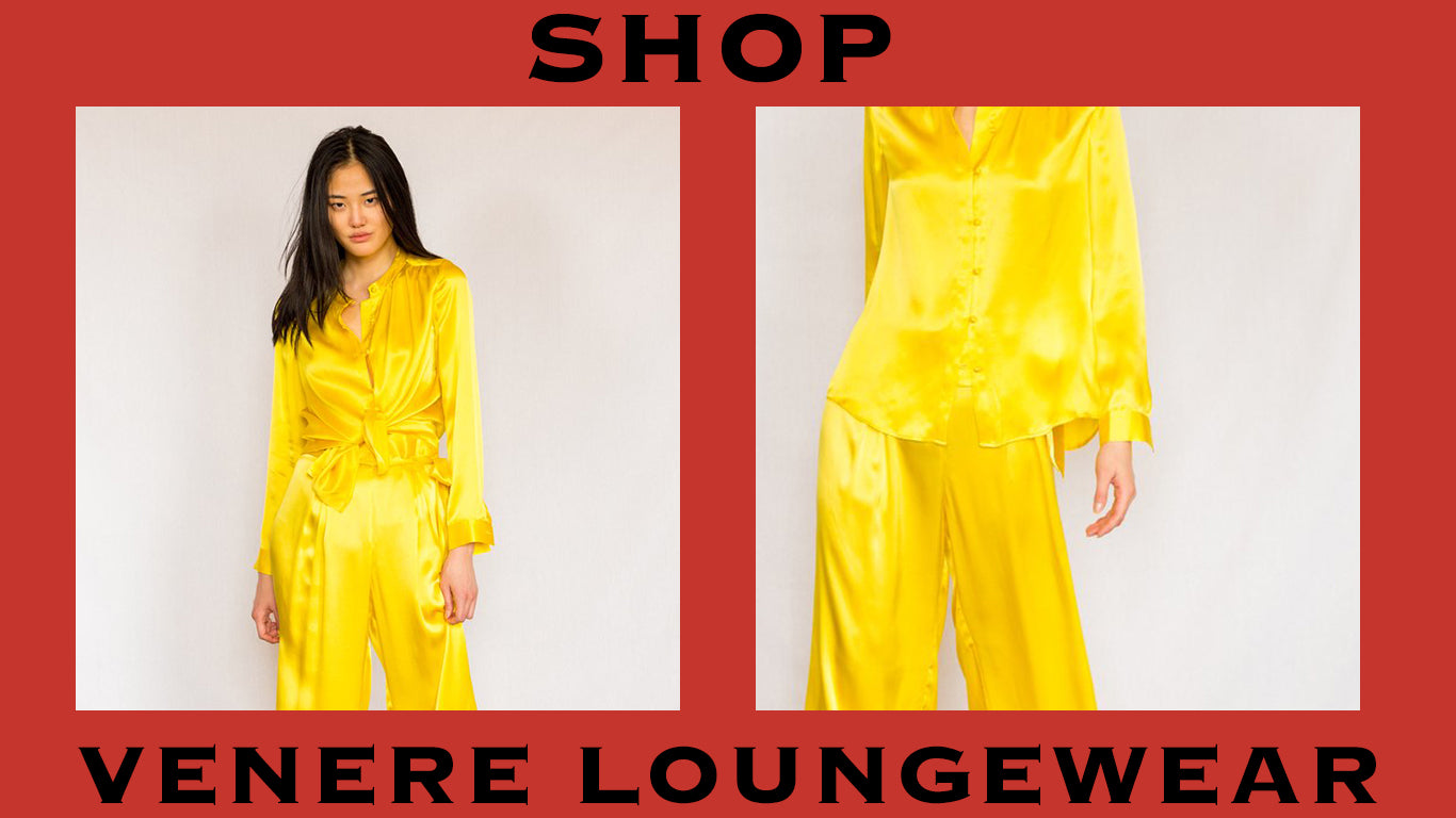 product graphic of venere yellow loungewear. shop.