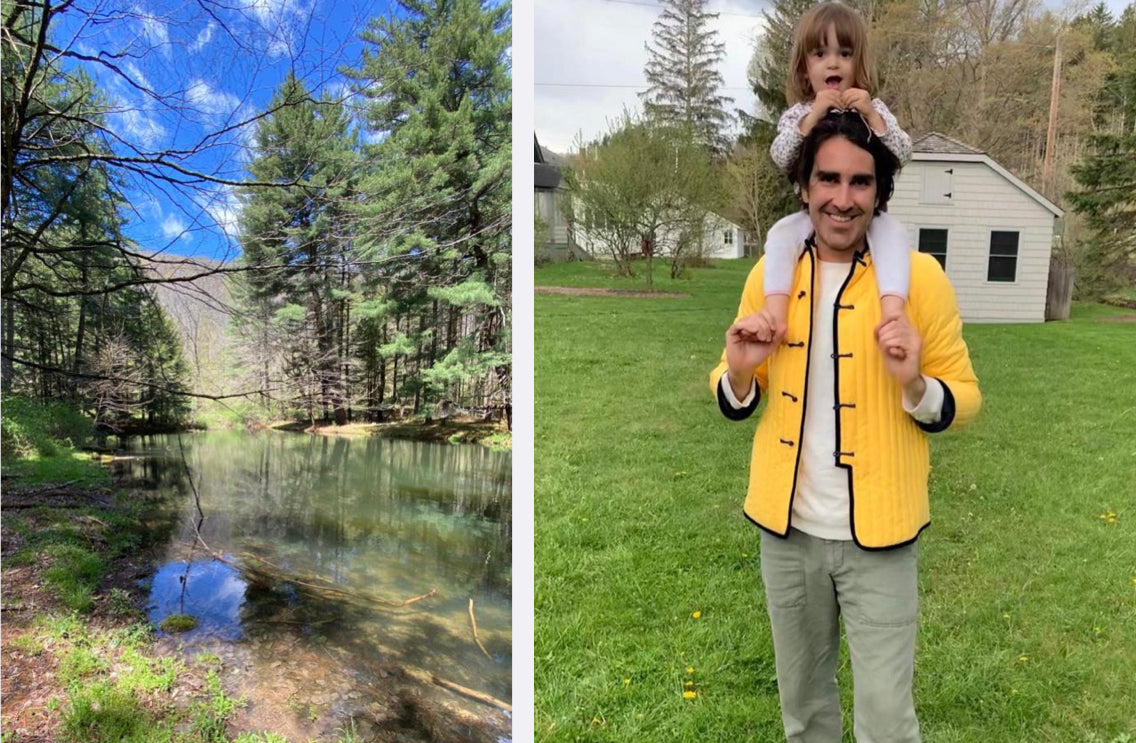 2 images one of nature, one of father carrying little girl on his holders wearing bright yellow puffer blazer by yali