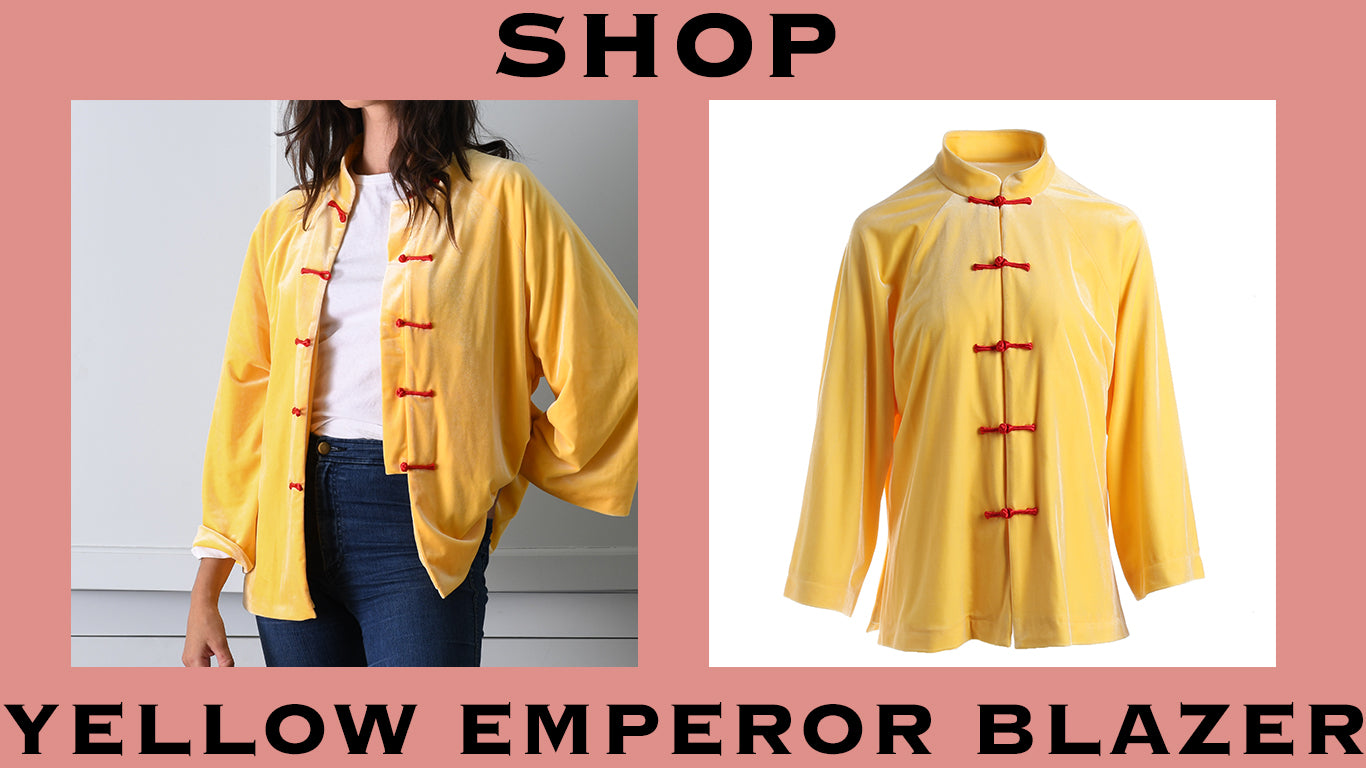 product graphic for yellow emperor blazer. shop.