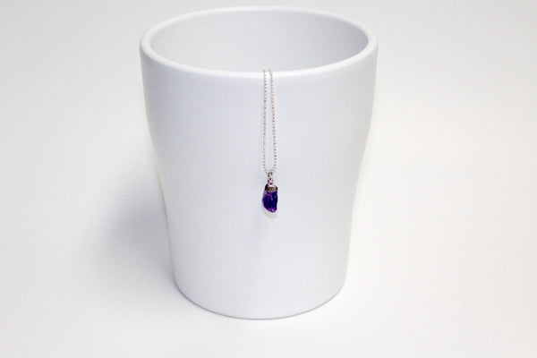Silver Capped Raw Amethyst Necklace - U Are Unique Jewellery