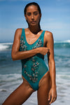 Entranced Mesh One Piece Swimsuit in Teal