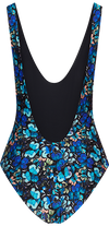Entranced One Piece Swimsuit in Blue Butterfly Print