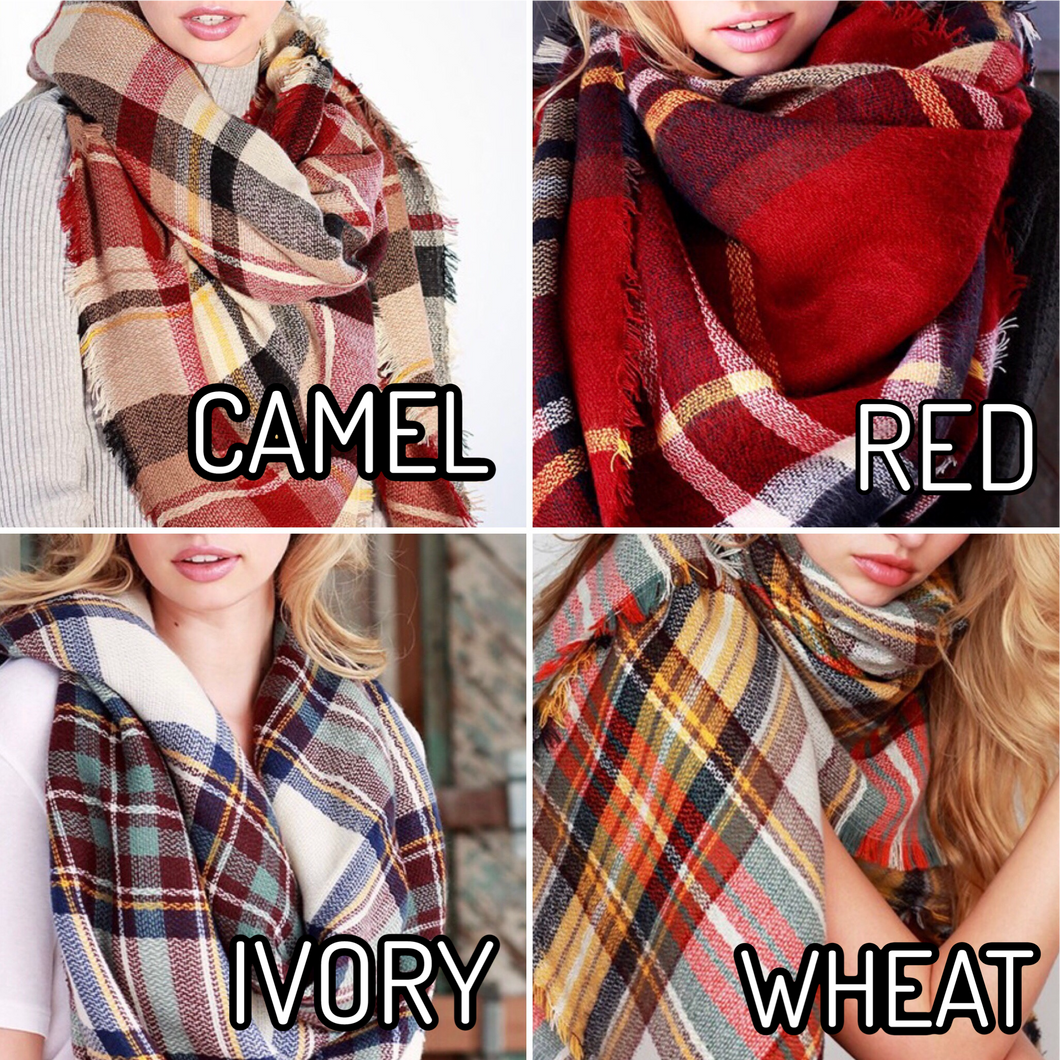 Wendy Plaid Scarf -4 Colors