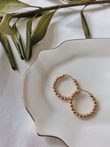 Baguette Beaded Mini Hoops