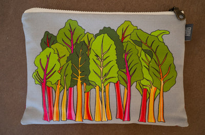 Rainbow Chard Gray Zipper Pouch