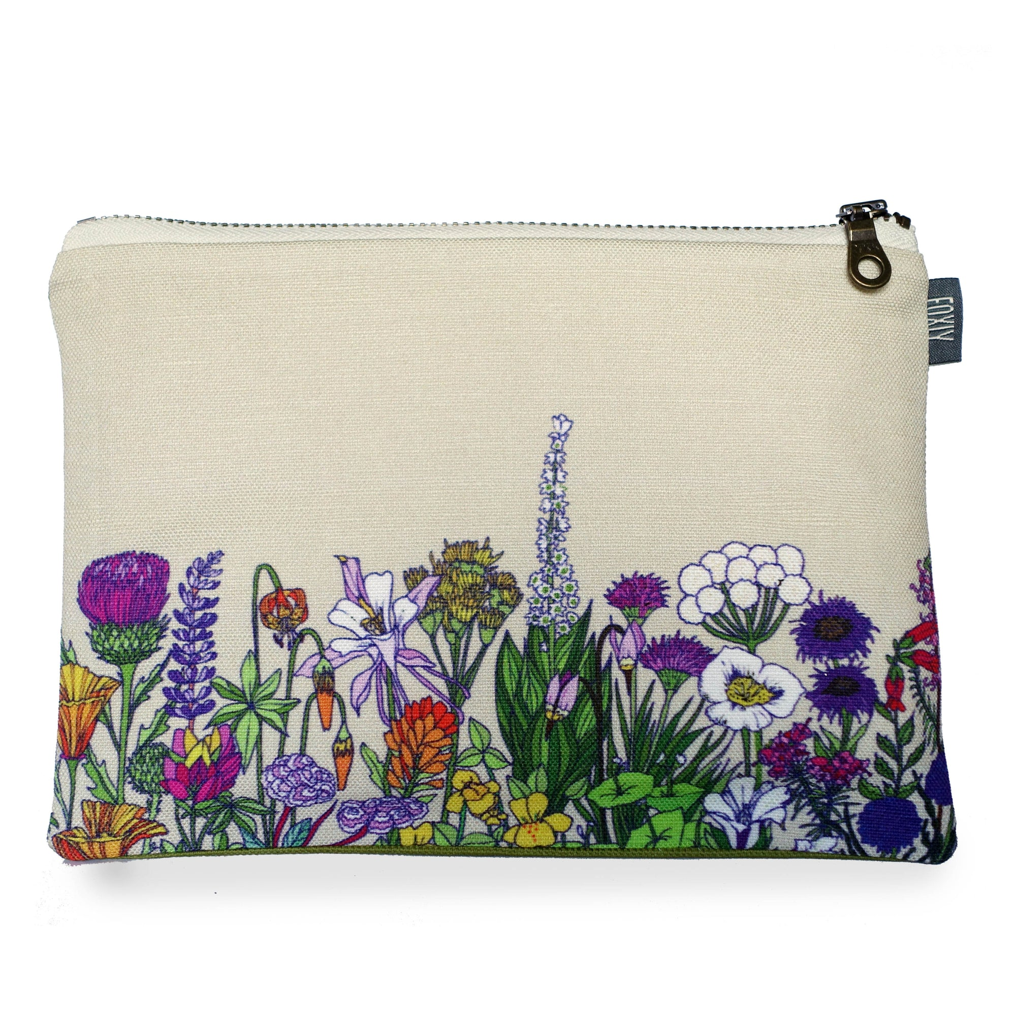 Wildflower Cream Zipper Pouch