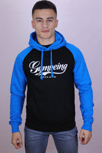 Load image into Gallery viewer, Mens Black & Blue sleeve thick hoodie