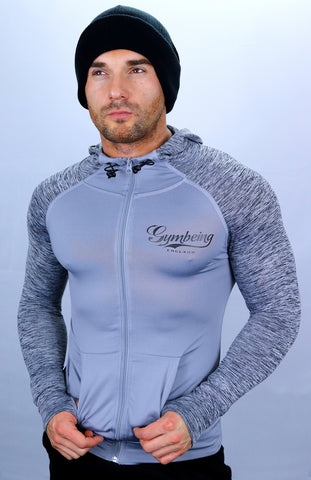 Grey Marble Technical Hoodie Mens