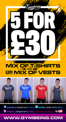 Mens 5 tee shirts or vests for ONLY £30!