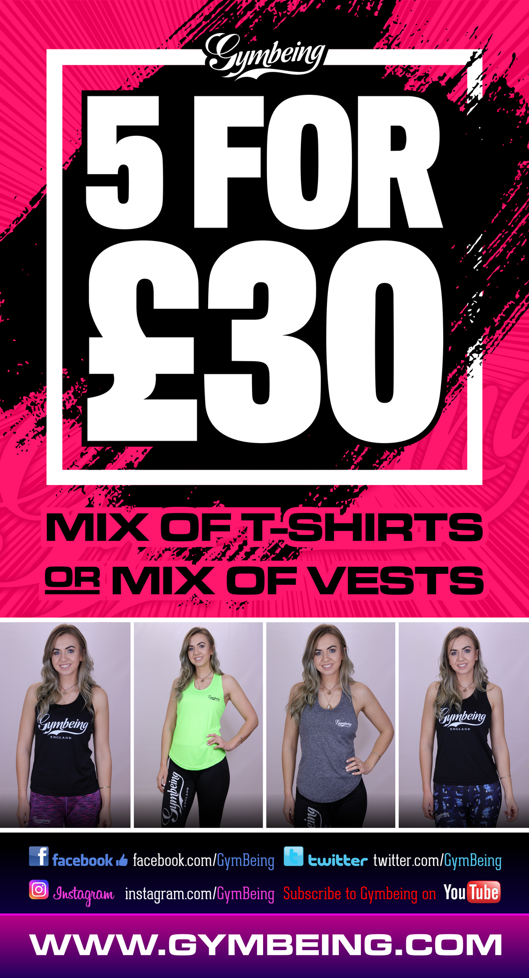 Womens 5 for £30 on tee shirts / vests