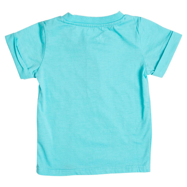 Aqua Short Sleeve Henley Shirt