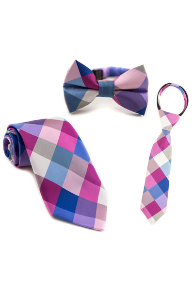 Blue and Berry Check Tie