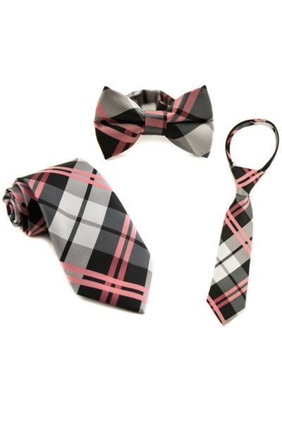 Blush and Black Plaid Tie