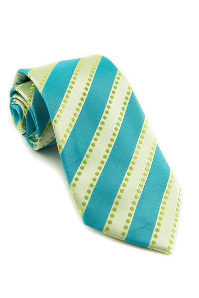 Lime and Turquoise Dots and Stripes tie