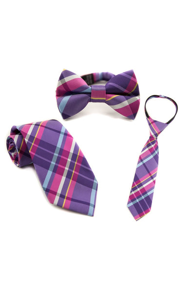 Magenta and Plum Plaid Tie
