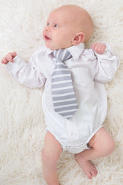 Platinum and White Horizontal Stripe Tie