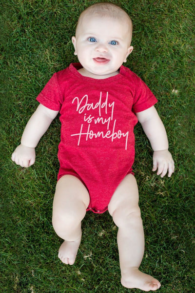 Daddy Is My Homeboy Red Crew Neck Bodysuit