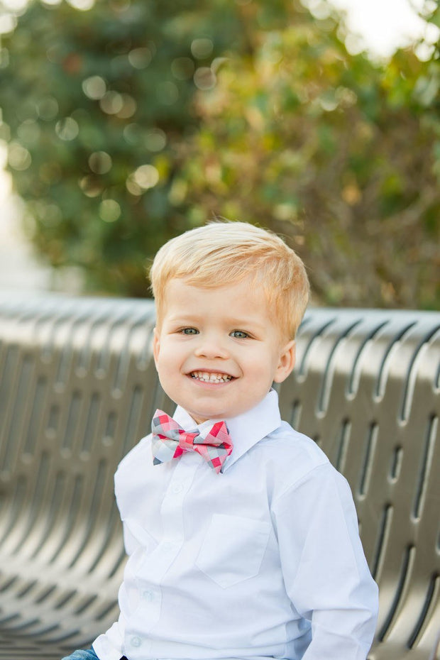 Coral and Slate Squares Bow Tie (Boys and Men)