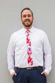 Fuchsia & Fire Floral Standard Necktie (Adult and Youth)