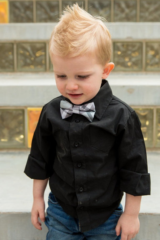 Ice & Ash Plaid Bow Tie (Boys and Men)